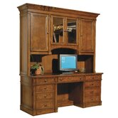 Urban Executive Leather Top Credenza with Hutch
