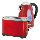 Kettle and Toaster Set in Red Steel