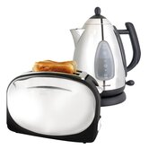 Kettle and Toaster Set in Polished Stainless Steel and Black