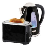 Kettle and Toaster Set in Black Steel