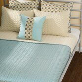 Wave Quilted Reversible Cap Bedding Set in Blue / Cream
