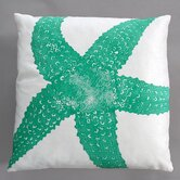 Starfish Turquoise Pillow on White Linen