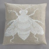 Bee White Pillow on Natural Linen