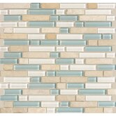 "Legacy Glass 5/8"" x Random Linear Glass & Stone Mosaic Tile in Arctic Blend"