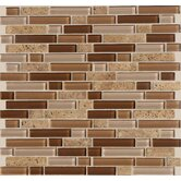 Legacy Glass 5/8&quot; x Random Linear Glass &amp; Stone Mosaic Tile in Wheat Field Blend