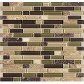 "Legacy Glass 5/8"" x Random Linear Glass & Stone Mosaic Tile in Jungle Blend"