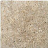 "Natural Stone 4"" x 4"" Fontane Tumbled Travertine Tile in Walnut"