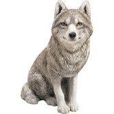 Original Size Sitting Gray Wolf Sculpture