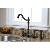 Charlestown Two Handle Bridge Style Kitchen Faucet with Matching Side Spray