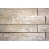"Handscraped Wood 6"" x 36"" Porcelain Tile in White"
