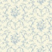 Willow Cottage Petit Toile Floral Bouquet Wallpaper in Blue