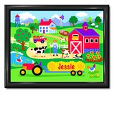 Country Farm Personalized Print with Gloss Black Frame