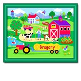 Country Farm Personalized Print with Dark Green Frame