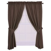 Tremblay / Tyvek Diamond Tailored Panel Pair Curtains with Tiebacks in Brown
