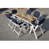 Nautical 7 Piece Dining Set with Slip Cushions