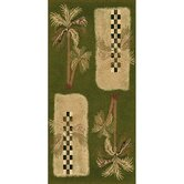 Oasis Palm Design Green Novelty Rug