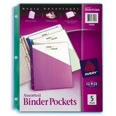 5 Count Assorted Colors Binder Pocket