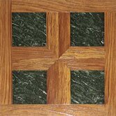 "Paramount 16"" x 16"" Vinyl Woodtone / Green Marble Tiles (Set of 6)"