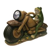 Solar Frog on Motorcycle with Solar Spotlight Statue