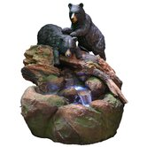 Fiberglass Bears Stream Fountain with LED Light
