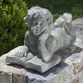 Cherub Reading Book Statue