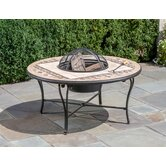 Basilica Mosaic Fire Pit and Beverage Cooler Table