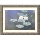 Nympheas Effet Du Soir (Water Lilies in the Evening) Silver Framed Print - Claude Monet