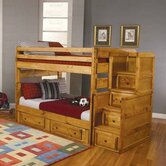 San Bernardino Full over Full Bunk Bed Set with Stairs and Storage