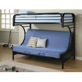 Fall Creek Twin over Futon Bunk Bed with Built-In Ladder