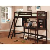 Dorena Twin Low Loft Bed with Desk and Bookshelves
