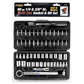 "60 Piece 1/4"" & 3/8"" Drive SAE & Metric Socket Set W1168"