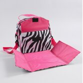 Rachel Placemat Lunch Bag in Zebra / Hot Pink Trim and Liner