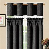Sensations Grommet Kitchen Curtain Set in Black