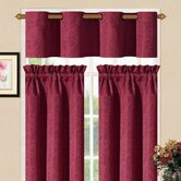 Sensations Grommet Kitchen Curtain Set in Burgundy