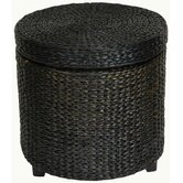 Rush Grass Storage Footstool in Black