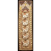 Burmese Five Elephant Long Tapestry Wall Art