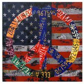 American Flag Peace Canvas Wall Art - 19.5&quot; x 19.75&quot;