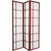 Double Cross Shoji Screen with Three Panel in Rosewood