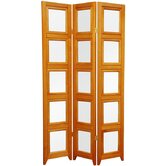 Double Sided Photo Display Room Divider in Honey