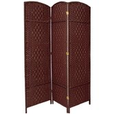 6 Feet Tall Diamond Weave Fiber Room Divider in Dark Red