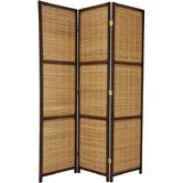 Woven Accent Room Divider in Dark Brown