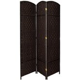 Diamond Weave 3 Panel Room Divider in Black