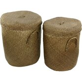 Hand Plaited Rush Grass Laundry Hamper (Set of 2)