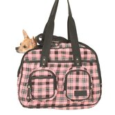 Deluxe Pet Tote Bag in Pink Plaid