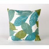Mystic Leaf Square Indoor/Outdoor Pillow in Aqua