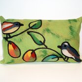 Song Birds Rectangle Indoor/Outdoor Pillow in Green