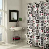Blocks Shower Curtain in Black / Red