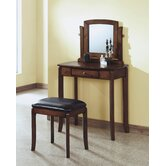 Vanity Set with Brown Leatherette Stool and Mirror in Walnut