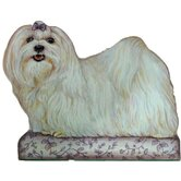 Maltese Wooden Decorative Dog Doorstop
