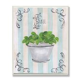 Green Basil and Thyme in White Pot Kitchen Wall Plaque Set